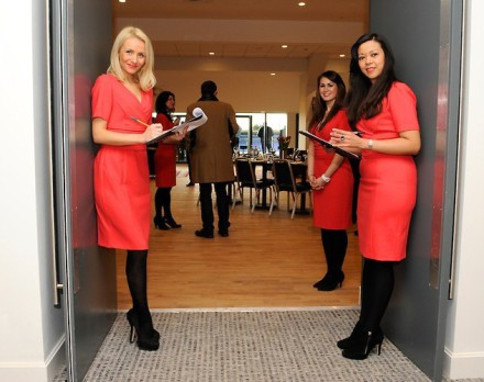 Hostesses welcoming guests to the Tulip Club
